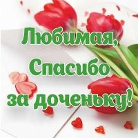 Баннер «Любимая, спасибо за доченьку!» | Растяжка на выписку из роддома с цветами тюльпанами большого размера