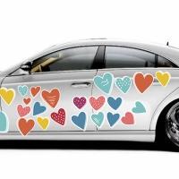 """Купить виниловые наклейки на боковую сторону автомобиля """"Сердечки"""" в интернет-магазине Спасибо-за-ребенка. Ру"""