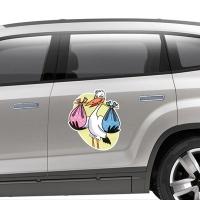 Купить виниловую наклейку на машину Аист двойня в интернет магазине Спасибо за ребенка.