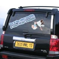 Наклейка на авто на выписку из роддома для друзей - Вас аист посетил мальчик.