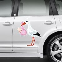 Наклейка на авто выписку из роддома дочери - Аист стоит с девочкой.