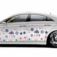 "Купить декоративную наклейку на боковую сторону автомобиля ""baby, якоря, звездочки"" в интернет-магазине Спасибо-за-ребенка. Ру"