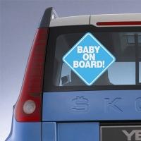 Купить декоративную наклейку на авто Baby on board blue в интернет магазине Спасибо за ребенка.