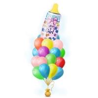 """Связка разноaцветных шаров с фольгированной """"Воздушной Бутылочкой"""" на выписку l Встреча дочери из роддома шариками с гелием """"Розовая Бутылочка"""" с соской"""