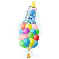 """Доставка для встречи сына связки воздушных шаров на выписку из роддома """"Голубая Бутылочка с Соской для мальчика"""""""