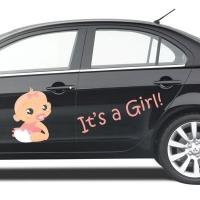 Наклейка на авто выписку из роддома дочери - It's a GIRL.