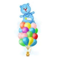 """Набор воздушных шаров на выписку из роддома """"Родился мальчик"""" l Встреча сына шариками с гелием """"Мишка с бутылочкой"""""""