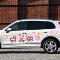 Набор наклеек на выписку девочки Паровоз розовый!