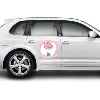 Наклейка на авто на выписку из роддома для друзей - Поздравляем с рождением чудо девочка.