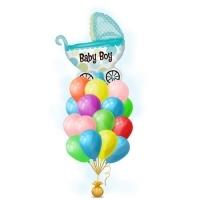 Связка воздушных шаров с голубой коляской для мальчика из фольги с гелием на выписку из роддома