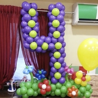 Цифра 4 из шариков