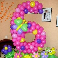 Цифра 6 из шариков