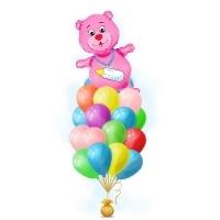 """Доставка шаров на встречу из роддома """" Мишка с бутылочкой розовый"""""""