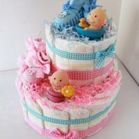 Торт из памперсов для двойняшек - мальчика и девочки по привлекательной цене