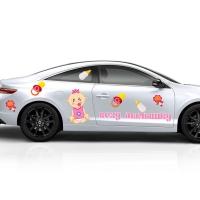 Набор наклеек на авто на выписку из роддома Везу Малышку!